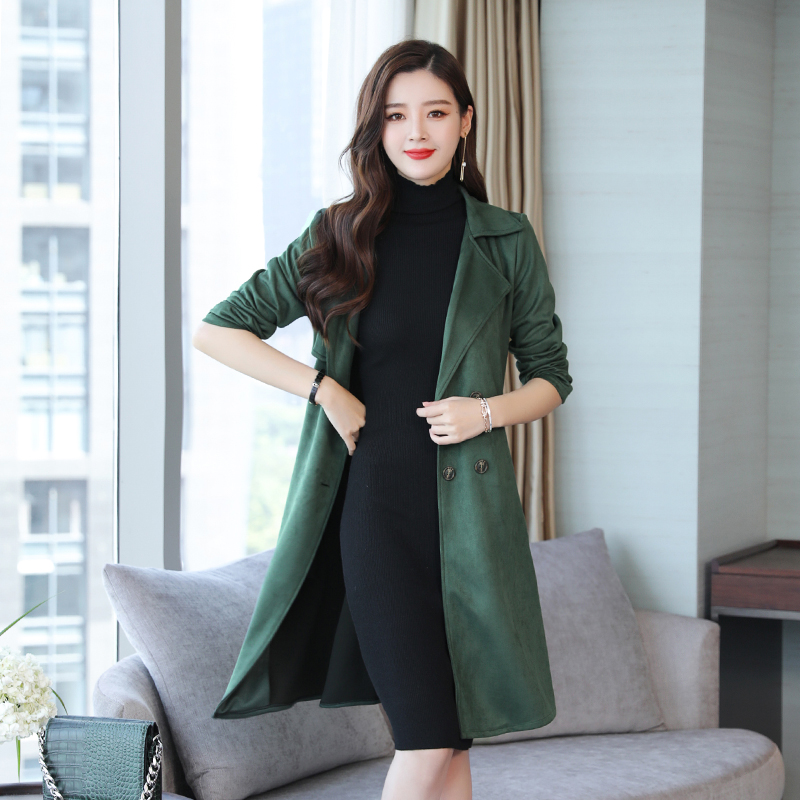 YICIYA green Long Suede   trench   women coat oversized outerwear plus size XXXL 4XL 5XL bodycon slim big clothes winter 2019 spring