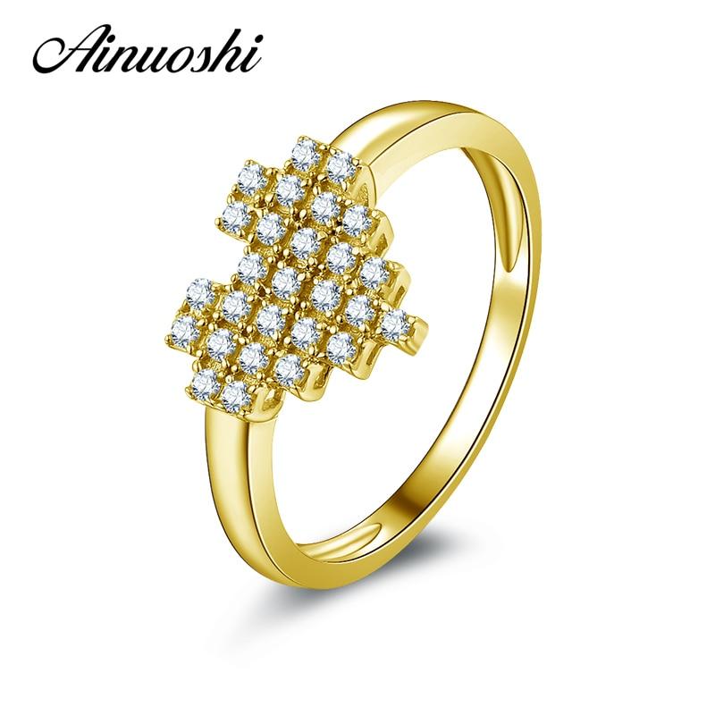 959adea8a6aa5 AINUOSHI 10 k Ouro Amarelo Anel de Casamento Simulado Diamante Jóias Aneis  Feminino Da Moda Amantes da Forma Do Coração Anéis Dos Namorados Presente