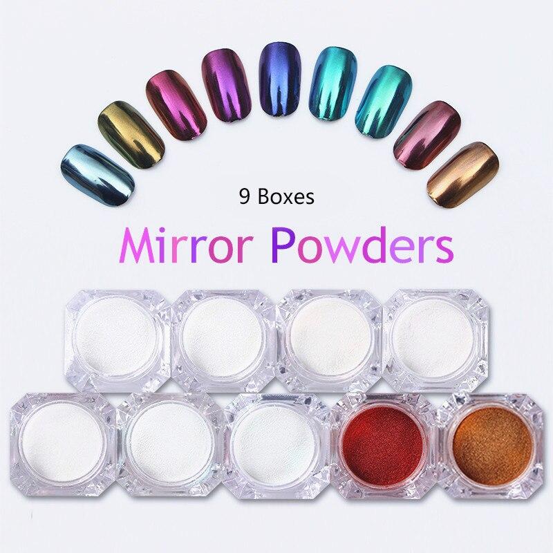 BORN PRETTY 9 Boxes Mirror Nail Powder 1g Gold Blue Purple Dust Manicure Nail Art Glitter Chrome Pigment Decoration