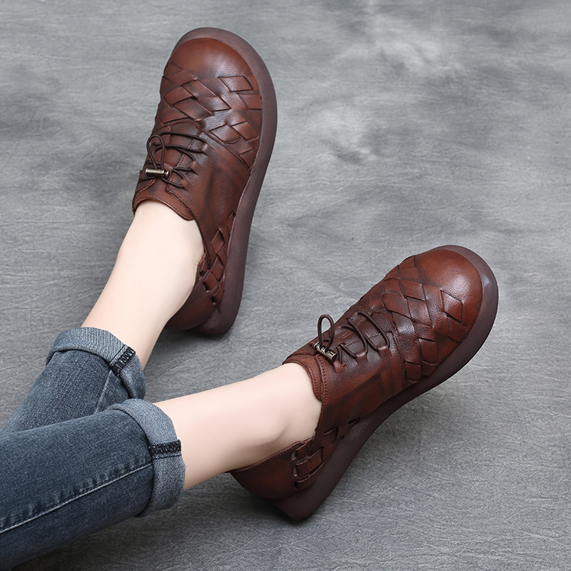 Tyawkiho Casual Leather Women Shoes 4 CM High Heels Wedge Pumps Lace Up Shoes Women 2018 Spring Low Heel Genuine Leather Pumps allbitefo 2018 new spring horsehair thick heel lace up women pumps low heeled platform casual women shoes office high heel shoes