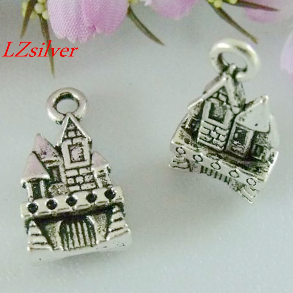 MIC - 100pcs Antique Silver Zinc Alloy  Castle Charms Pendants 21x11mm A00992