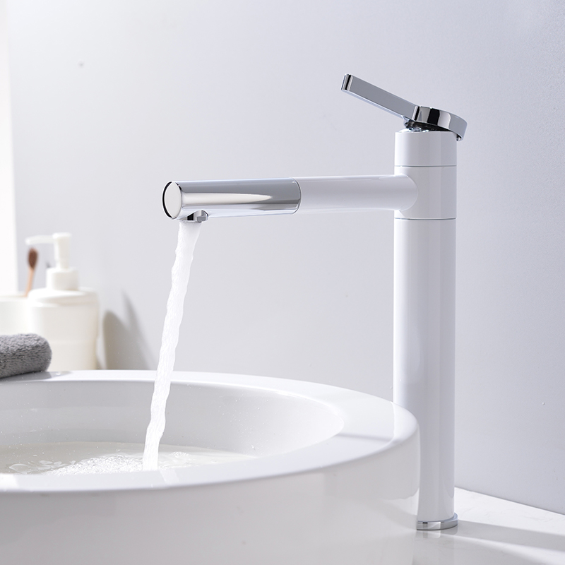 Cold and hot basin faucets swivel washbasins basins white faucets all copper bathrooms single hole faucetsCold and hot basin faucets swivel washbasins basins white faucets all copper bathrooms single hole faucets