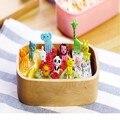 Nueva llegada Mini Animal de dibujos animados tenedor alimentos recoger frutas señal Bento almuerzos decoración de la fiesta de vajilla 10 unids/set