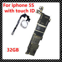 For Iphone 5S 32GB Original Motherboard With Touch ID Install IOS System Logic Board Unlocked Mainboard