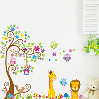 2 stuks DIY kleurrijke jungle dieren boom bloem thuis decal muurstickers kinderkamer decoratie stickers kids baby speelgoed geschenken