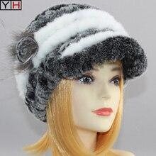 Лидер продаж, женские вязаные шапки из меха кролика Рекс, женские зимние теплые шапки, модные меховые головные уборы из натурального меха кролика рекс