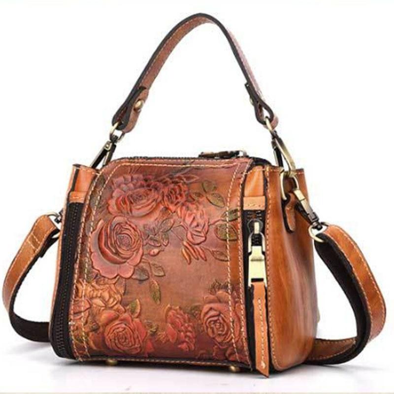 New Vintage Trend Women Genuine Leather Tote Bag Casual Crossbody Messenger Shoulder Bags Famous Brand Embossed Floral Handbag недорго, оригинальная цена