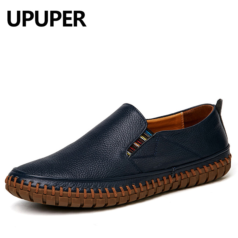UPUPER Big Size Men Genuine Leather Shoes Slip On Black Shoes Cow Leather Loafers Mens Moccasins Shoes Comfortable Driving Shoe mycolen men loafers leather genuine luxury designer slip on mens shoes black italian brand dress loafers moccasins mens