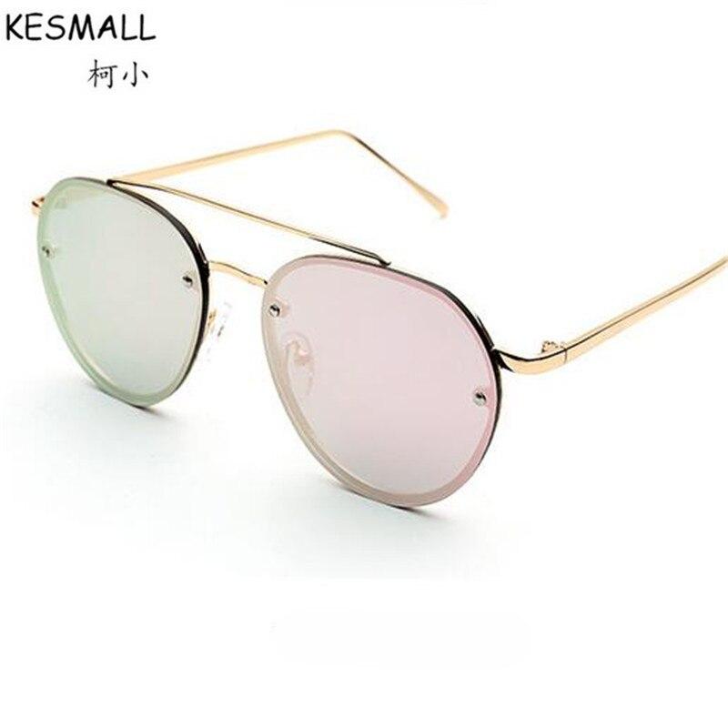 KESMALL 2017 Sunglasses Women Men Fashion Metal Frame Personalized Sea Sun Glasses Oversized Anti UV Glasses