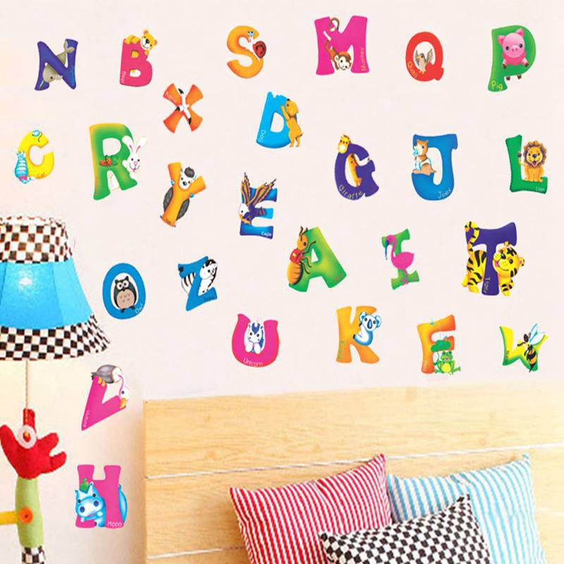 Animals mural wall stickers alphabet letters for kids for Letters for kids rooms
