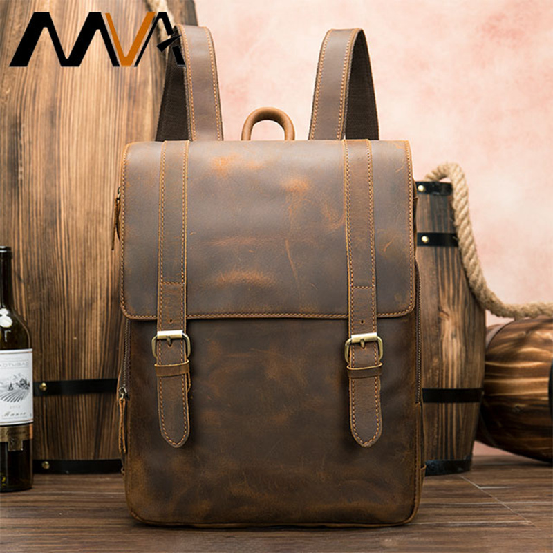 MVA Men Backpack for 14 inches Laptop Leather Genuine Multifunction Travel Anti Theft Backpacks Neutral Portable School Bags 058MVA Men Backpack for 14 inches Laptop Leather Genuine Multifunction Travel Anti Theft Backpacks Neutral Portable School Bags 058
