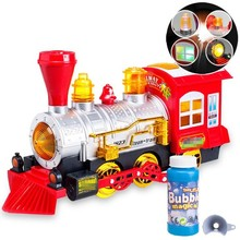 Steam Locomotive Engine Car Bubble Blowing Bump & Go Toy Train with Lights Sounds Bubble train Fun for Kids