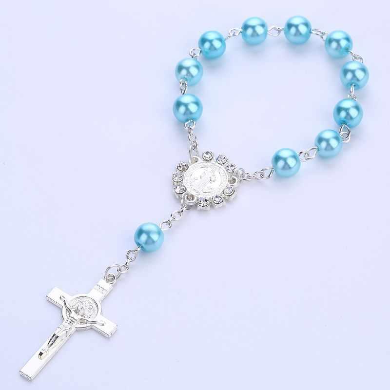 Католический религиозный Розарий, греческий шарм, браслеты, крест, благословение, красочные, имитация жемчуга, аксессуары, четки для детей, Крещение, звенья цепи