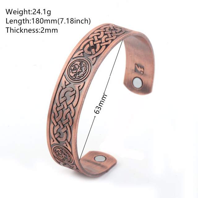 Magnetic therapy health care wicca knot antique copper bracelet cuff bangles