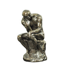 Scaled The Thinker Sculpture Handmade Copper and Resin French Rodin's Statue Artwork Decor Souvenir Craft Ornament Accessories
