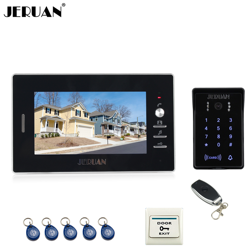 JERUAN Home wired 7`` TFT video door phone intercom system RFID waterproof touch key password keypad camera +remote control