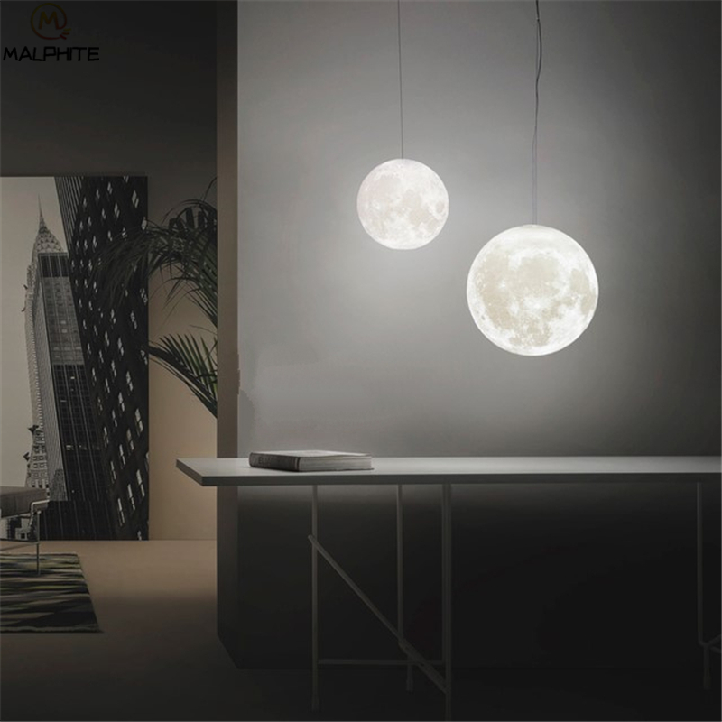 Nordic 3D Print Lunar Hanglampen Woonkamer Moderne Decor Armatuur Slaapkamer Nachtkastjes Maan Licht Opknoping Hanglamp Armatuur - 4