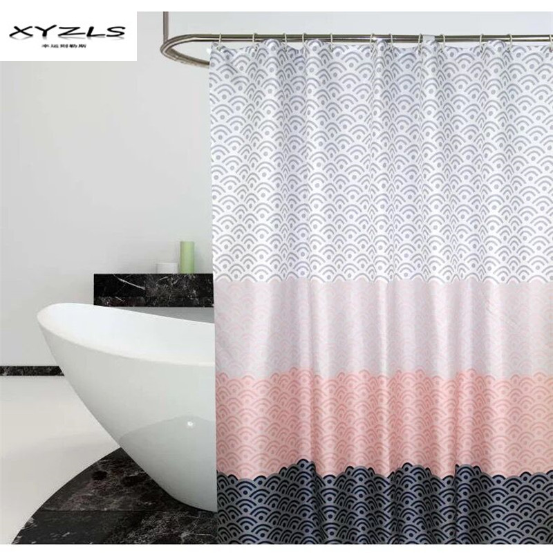 XYZLS Modern Geometric Shower Curtain Waterproof Polyester Fabric Bathroom Curtain For The Bathroom Deocrate With Plastic Hooks