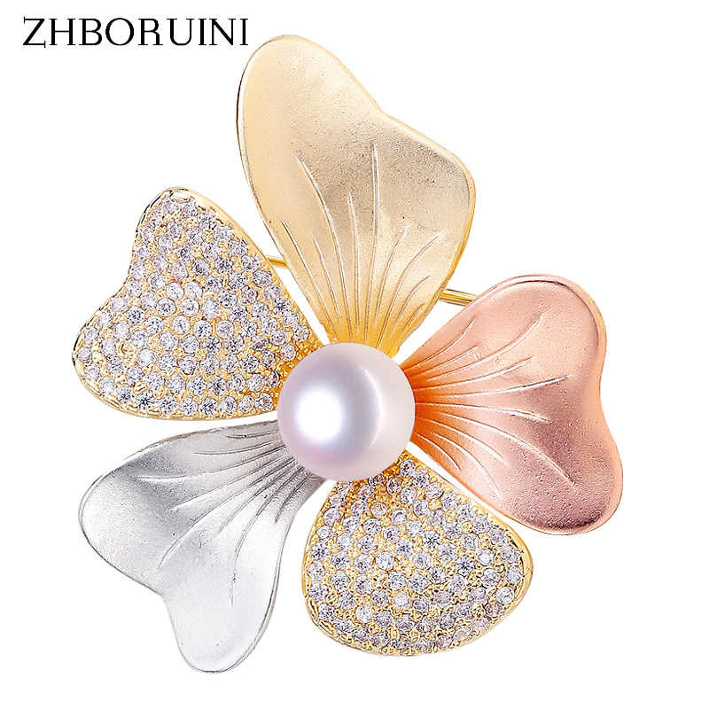 ZHBORUINI 2019 Fine Italian Technology Natural Freshwater Pearl Brooch Tricolor Brooch Pearl Jewelry For Women Dropshipping
