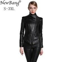 NewBang Brand Fashion Spring Women Genuine Leather Jackets Sheepskin Black Zippers Turn Down Collar Motorcycle Coat