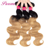 Puromi Hair Extensions Indian Hair Bundles Ombre Body Wave Human Hair 3 Bundles 1b/27 Two tone Remy Hair Weave