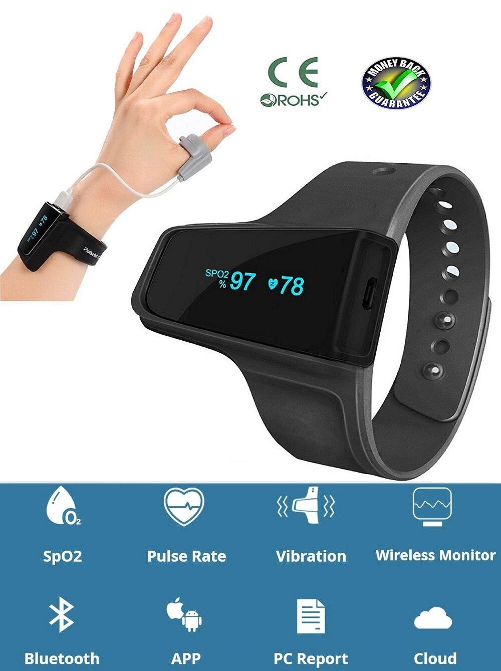 Relógio Monitor de Freqüência Cardíaca Relógios médicos Anti Ronco Sonífero SpO2 Alarme Oxímetro de pulso Sem Fio Bluetooth para a Apnéia Do Sono
