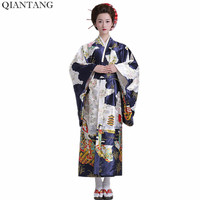 Hot Sale Fashion Women Kimono Yukata Haori With Obi Navy Blue Japanese Style Evening Party Dress Asian Clothing Quimono HW035