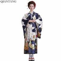 Venta caliente de La Manera de Las Mujeres Del Kimono de Yukata Haori Con Obi Azul Marino Estilo Japonés Vestido de Noche Del Partido Ropa Asiática Quimono HW035