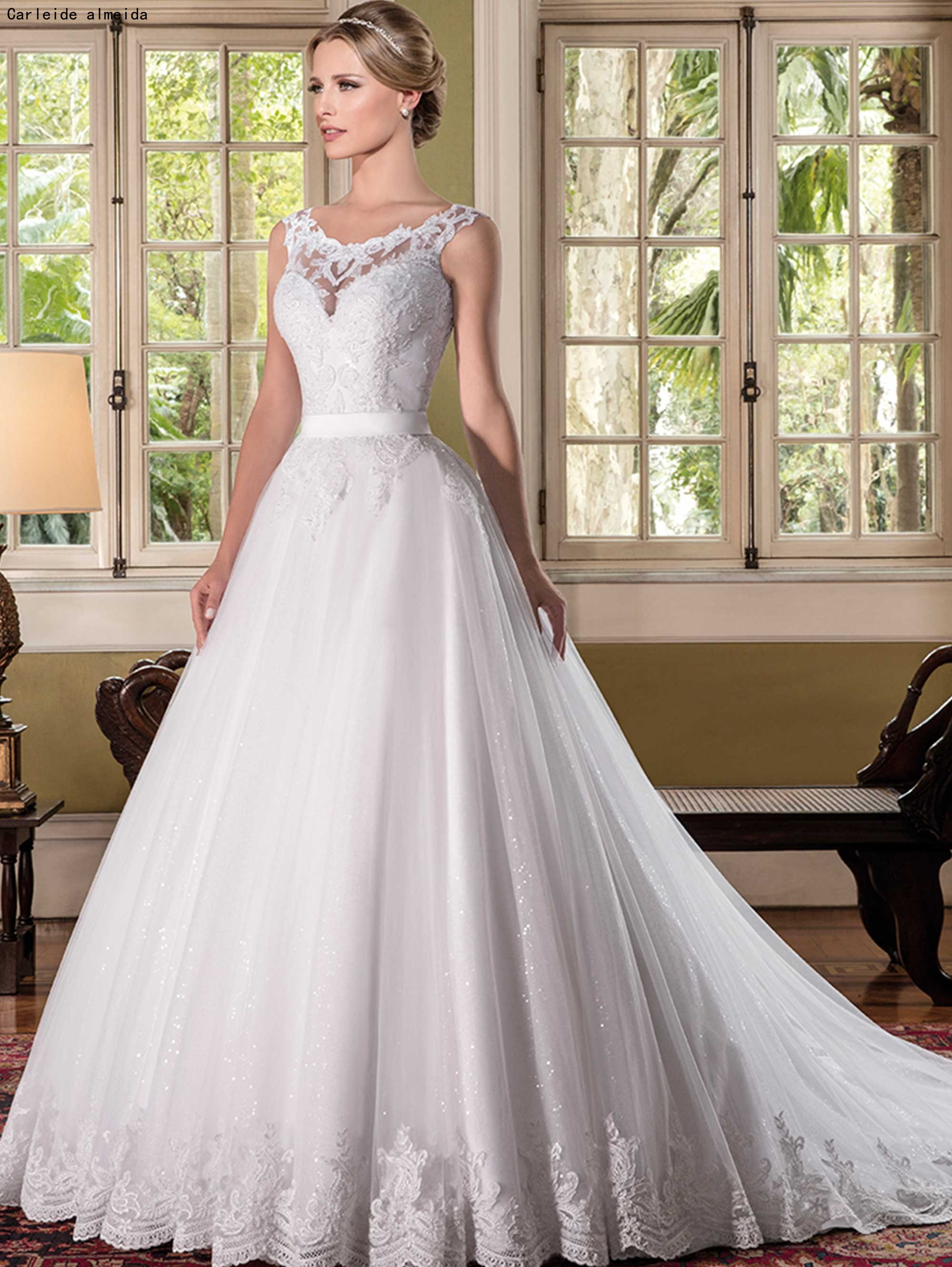 Scoop Shinning Tulle Ball Gown Wedding Dresses With Lace Appliques Sexy Back Bride Dress