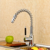 2016 Modern Creative Spring Pull Out Sprayer Kitchen Sinks Faucet Brass Material Hot And Cold Wash