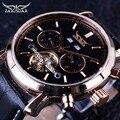 Jaragar 2017 tourbillion cowboy genuíno design de moda couro strap men watch top marca de luxo relógio automático relógio mecânico