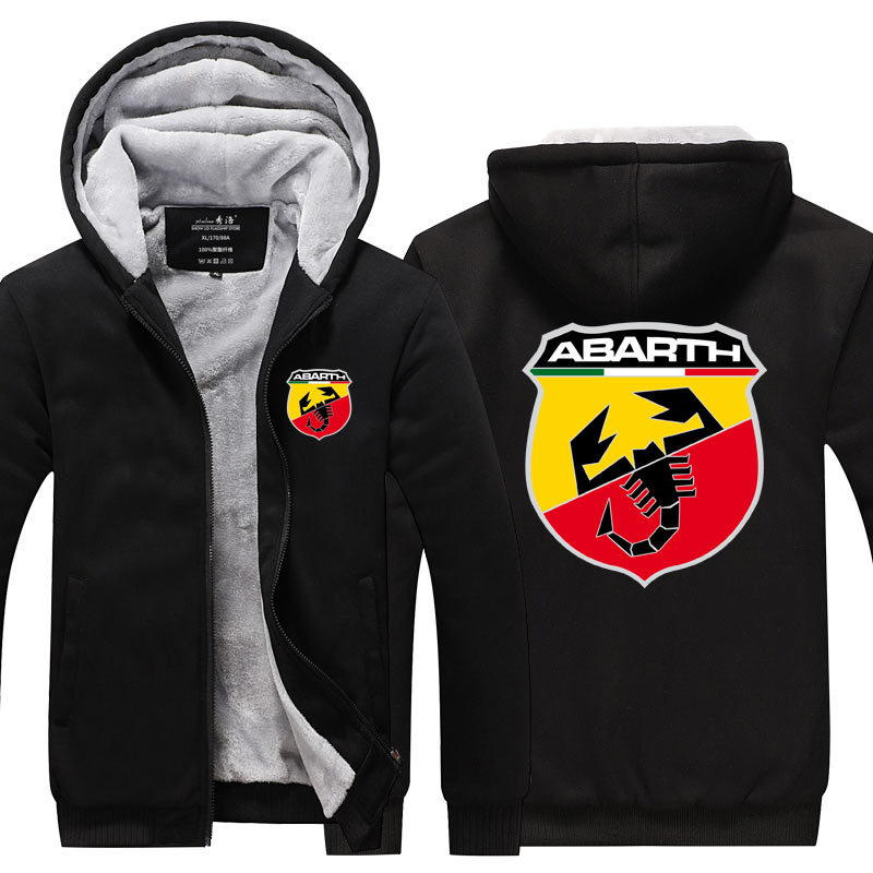 New Pattern Men's Jacket Car Logo Abarth Coat Winter Casual Zipper Thicken Sweatshirt Fashion Clothes