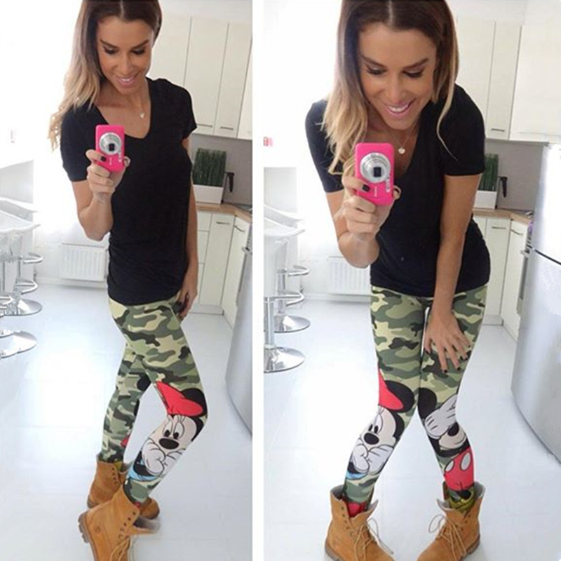 Minnie Mickey Mous Women Camo   Legging   Cartoon Female Mickey   Legging   Clothes Clothing girl gift cute clothing Birthday Party D721