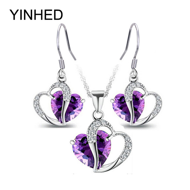 Yinhed Double Heart Crystal Jewelry Sets 925 Sterling Silver Purple Cz Zircon Necklace Earrings