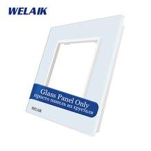 Welaik сенсорный выключатель Комплектующие для самостоятельной сборки Стекло Панель только стене выключатель черный, белый цвет кристалл Стекло Панель квадратное отверстие a18w/B1