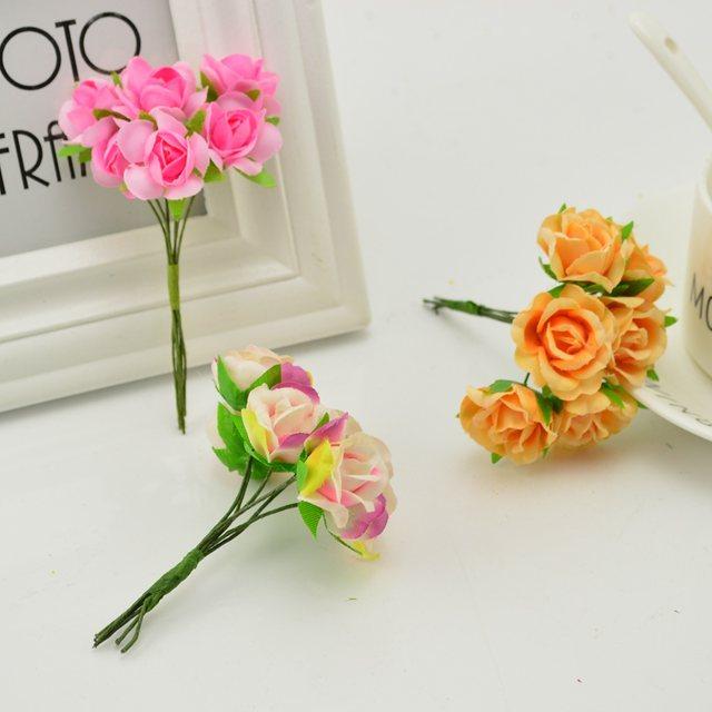 18pcs Silk Roses Wedding Shoes Headdress Diy Wreath Gift Box Home Wall Decoration Artificial Flower Collage Garland Bridal