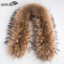 ZDFURS * Роскошные из натурального меха енота шарф женщин 100% натуральный мех енота меховой воротник зима теплый меховой воротник шарфы 70*16 см ZDC-163001