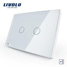LIVOLO США/AU стандарт 2-gang 2-полосная Сенсорный экран настенный выключатель, Сенсор переключатель переменного тока 110-250 V, белый Стекло Панель, VL-C302S-81