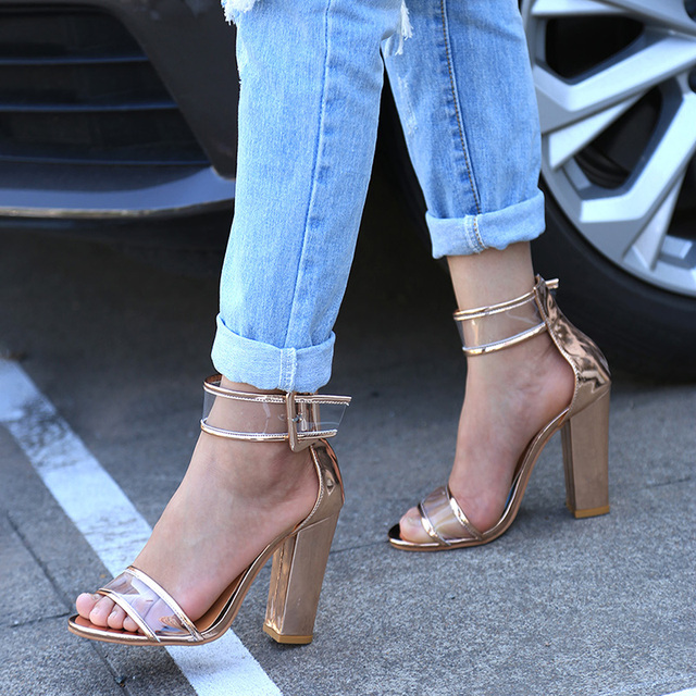 2017 Newest Women Sandals Thick High Heels Shoes Sexy Transparent Ankle Sandals Sandalias Mujer for Ladies Pumps PA912509