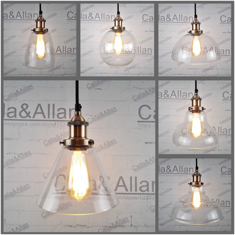 Clear glass shades antique copper Pendant Light Fixture Edison Hanging lamp Retro Industrial Pendant Lamp Loft AC110v 220v E27 edison retro industrial pendant lamp light loft hanging ceiling lamp e27 holder restaurant hallway hotel bar home decoration