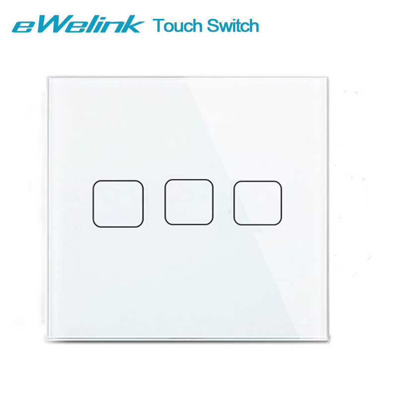 eWelink EU/UK Standard Light Touch Switch, Crystal Glass Panel 3 Gang 1 Way Wall Light Touch Screen Switch For Smart Home eu standard 2 gang 1 way touch switch crystal glass panel wall light switches smart home automation round type