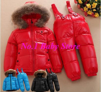 Новый 2016 Зима ребенок пуховик набор, высочайшее качество дети вниз нагрудник брюки набор, Бесплатная доставка ребенок зимний верхней одежды утолщение