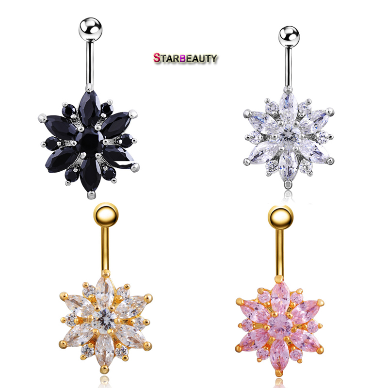 2017 Hot Brand 14G Dangle Belly Button Ringar 1.6mm Barbell Sexig Kirurgisk Stål Belly Piercing Navel Piercing Chirurgisch Staal