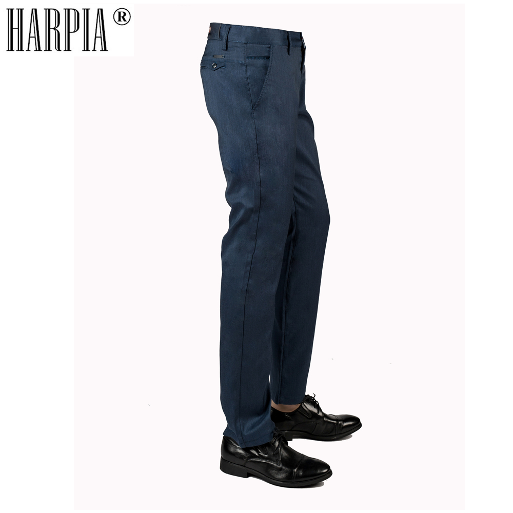 HARPIA High-grade Cotton Fabric Business Mens Casual Pants Spring Autumn New Slim Stretch Blue Straight Men Trousers Male Pants