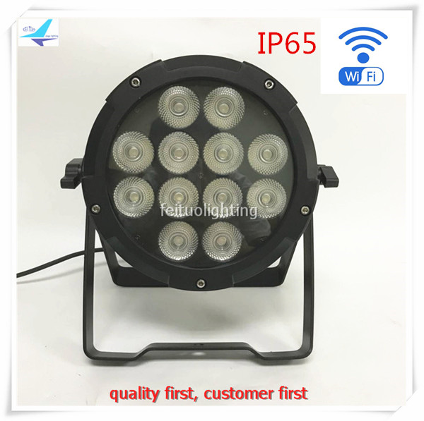 free shipping 6pcs/lot 12x12w IP65 Stage Wireless Par Light WIFI APP Control Battery Par ...