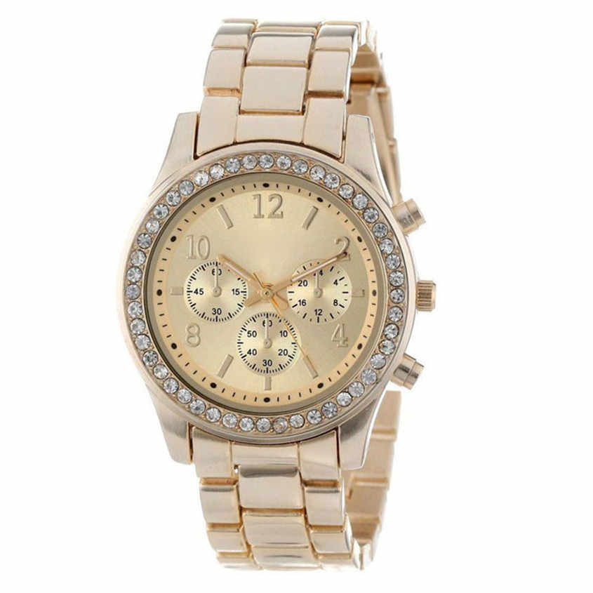 ファッションドレス腕時計男性女性フェイクリロイ Hombre クロノグラフクオーツメッキクラシックラウンド水晶腕時計レロジオ masculino