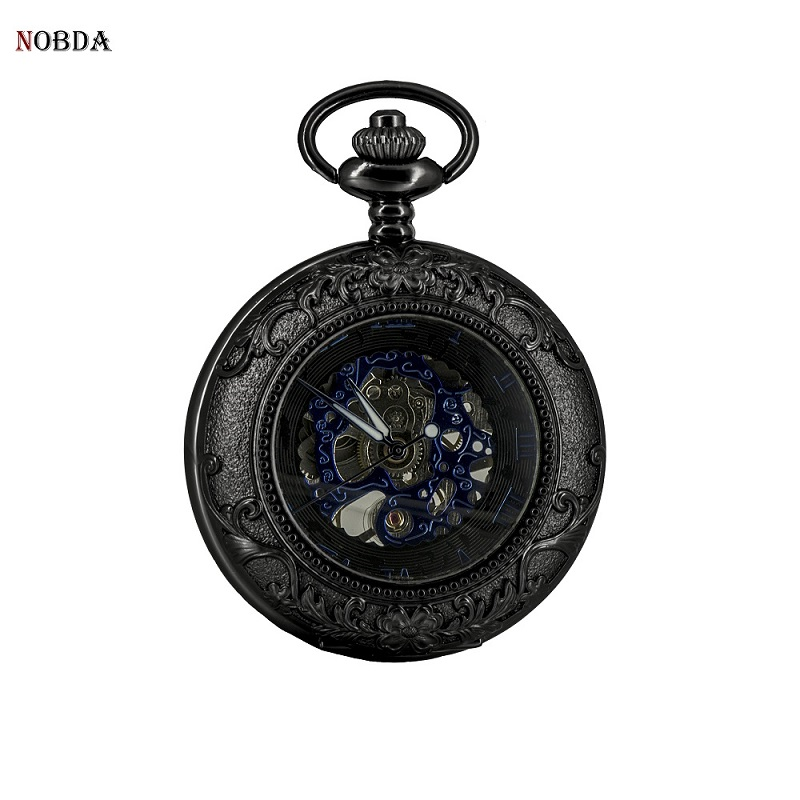 Men mechanical pocket watches Skeleton Mechanical Hand Wind Black Retro Pendant Antique Pocket Watch 2017 new black skeleton five star luxury hot stylish retro cool crown pattern hand wind mechanical pocket watch supernatural gift