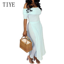 TIYE Womens Off Shoulder Wrapped Chest Fashion Split-length Jumpsuits Summer New Arrival Casual Long Romper Playsuits Female