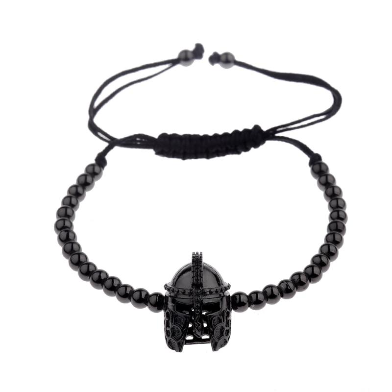 New Design Black CZ Stainless Steel Beads Braiding Buddha Bracelet Spartan Helmet Charm Bracelets For Women/Men Jewelry AB1016 11