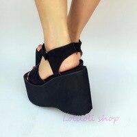 Милые туфли принцессы в стиле Лолиты loliloli yoyo; японский дизайн; черные босоножки из флока на платформе с застежкой липучкой; большие размеры;